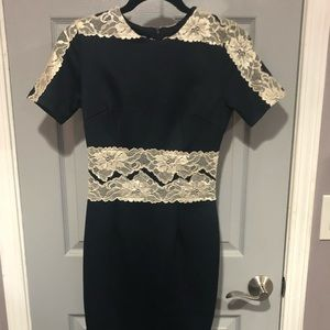 Navy midi bodycon scuba dress with floral lace